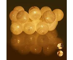 Relaxdays Guirnalda Luces con 20 Bolas LED a Pilas, Algodón-Poliestireno, Blanco, 6 cm de diámetro