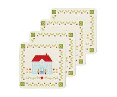 Kitchen Craft - Posavasos con base laminada, diseño con mensaje Home Sweet Home, multicolor
