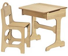 Planteles escritorio con silla, madera de arce Natural