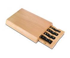 Arcos 163400 Series Manhattan-Knife Set de 4 piezas para cajón hoja nitrum forjado acero inoxidable mango polioxitmetileno (POM) – bloques de madera, y plástico