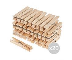 Glooke Selected Set 20muelles Pinza Madera X 24cm 9detergente Lavadora y Ropa, Multicolor, única