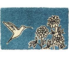 Entryways - Felpudo (45 x 75 cm, fibra de coco), diseño de flor y colibrí