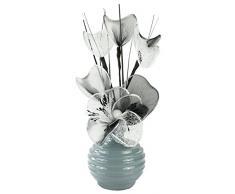 Flourish 792039-813 Mini Swirl - Par de jarrones con flores artificiales, 32 cm, Gris
