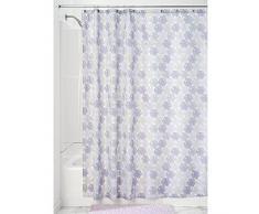 InterDesign Everli SC Cortina de baño | Cortinas estampadas para bañera o plato de ducha, 183 x 183 cm | Cortina de ducha de tela suave con estampado floral | Poliéster lavanda