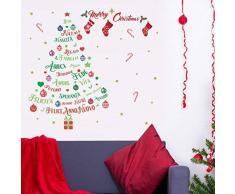 Wallflexi Navidad decoración Pegatinas de Pared árbol de Navidad Feliz Navidad & Italiano Citas Pared murales Adhesivos salón niños guardería Escuela Restaurante Cafe Hotel casa Oficina decoración