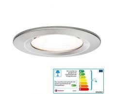 Paulmann 93599 Einbauleuchte LED Nova Einbaustrahler rund Deckenspot 3x7W Einbaulampe GU10 Spot Eisen dimmbar IP44 spritzwassergeschützt Luz empotrable 7 W, Gebürstet
