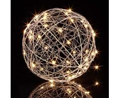 Relaxdays Lámpara LED con Forma de Bola, A Pilas, para Colgar o Poner de pie, Ø 20 cm, Plateado, Hierro, Plata