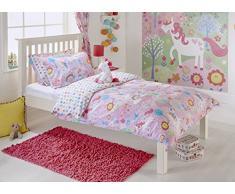 Unicorn niña Junior infantil con forma de flores de arcoíris – Juego de cama de matrimonio juego de funda de edredón y funda de almohada, color rosa