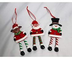 SHATCHI - Juego de 3 Adornos para Colgar en la Pared, diseño de Papá Noel, muñeco de Nieve, Reno, árbol de Navidad, Multicolor