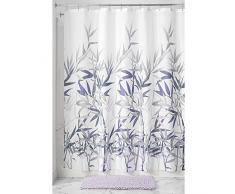 InterDesign Anzu Cortina de ducha   Cortina de baño lavable a máquina de 183 x 183 cm   Cortinas modernas con estampado floral para bañera o ducha   Poliéster lila/gris
