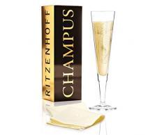Lenka Kühnertová - Copa de champán (Golden Fans), de cristal, 205 ml, con noble dorado, incluye servilletas de tela