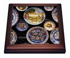 3dRose Portugal, Algarve, Monchique, Vajilla de diseño para Azulejos de Venta 8 por 8 Pulgadas, cerámica, marrón, 19,05 x 2,22 x 19,05 cm