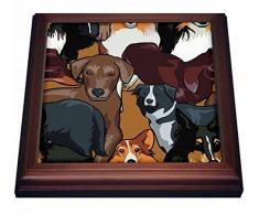 3dRose - Azulejos de cerámica para Perros y Cachorros (8 por 8 Pulgadas, 19,05 x 2,22 x 19,05 cm), Color marrón