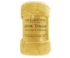 Dreamscene - Manta de Piel sintética de visón para sofá Cama, tamaño Grande, Suave y cálida, Ocre Amarillo, King - 200 x 240xm