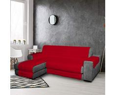 PETTI Artigiani Italiani, Funda Chaise Longue, Cubre Sofa Reversible, Protector para Sofás de Micrbibra, 100% Made in Italy, Rojo, 3 Plazas (250-255), Microfibra