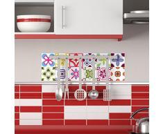Ambiance-Live 12 Pegatinas Adhesivos carrelages | Adhesivo Adhesivo Azulejos - Mosaico Azulejos de Pared de baño y Cocina | Azulejos Adhesiva - MULTICOULEUR arabescos - 10 x 10 cm - 12 Piezas