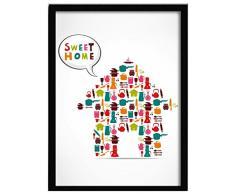 LO+DEMODA HCN2104-87 - Cuadro con marco, diseño Sweet home, 33 x 43 cm, multicolor