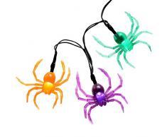 WeRChristmas - Guirnalda de 20 luces LED en forma de araña para decoración en Halloween, multicolor