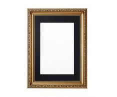 Paintings Frames Marco de Fotos de 8 x 6 Pulgadas para Cuadro de 6 x 4 Pulgadas con decoración Shabby Chic - con Placa de Soporte de MDF - Marco de Oro con Montura Negra