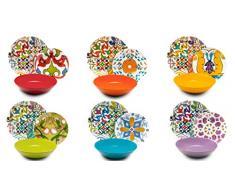 Excelsa Lisboa vajilla de 18 Piezas, Porcelana y cerámica, Multicolor