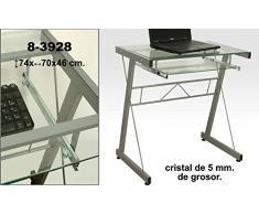 DRW - Mesa de Ordenador de Metal y Cristal de 5mm de Grosor en Color metálico