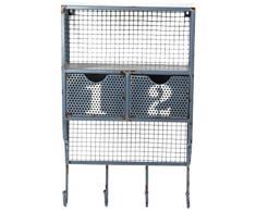 Pide X esa Boca PP-111306 - Estante de pared, metal con acabado envejecido, 2 cajones numerados y 3 ganchos, 34 x 14 x 57 cm