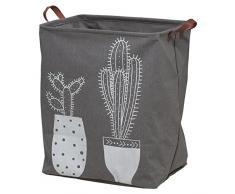 Sealskin Cactus Cesta De Ropa, Poliéster, Gris, 30 X 50 X 40 Cm