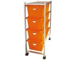 Laroom Carrito Estrecho 4 cajones, Chrome Acero Inoxidable Structure y PP Drawers, Naranja