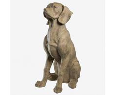 Better & Best Gr Figura Decorativa de Perro Sentado Grande Beige, Medidas 48x35x72 cm, Material: Resina, Blanca