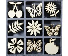 cArt-Us 10,5Â x 10,5Â cm Caja de Madera con Frutas Mariposa Flor Adornos, Natural