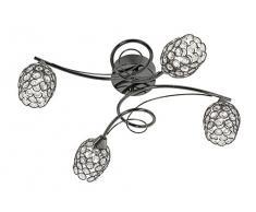 Oaks Lighting Alaska lámpara de techo de cromo negro acabado Carcasa de cuentas de cristal