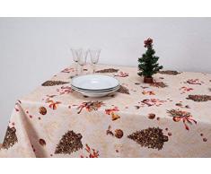 Boheme Mantel Navidad Lace Allover, 100% Algodón, Beige, 160 x 350