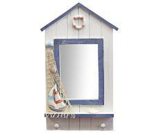Just Contempo - Espejo con diseño de caseta de playa (madera, incluye 2 ganchos, 46 x 21 x 5,3 cm), color azul y blanco, madera, Azul y blanco, 46 x 21 x 5,3 cm