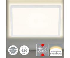 Briloner Leuchten Panel LED, lámpara de Techo, Incluye Efecto de luz de Fondo, 22 vatios, 3000 lúmenes, 4000 Kelvin, Blanco, Cuadrado, 42 x 42 cm, W