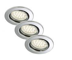 Briloner Leuchten luz LED empotrada, foco conjunto de 3 orientable 3 x GU10 3 W, IP23, cromo, 7208-038