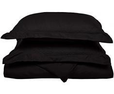 Superior - Juego de funda de edredón nórdico 229 x 234 cm, suavísimo, ligero y resistente a las arrugas, 100 % microfibra afelpada, con fundas de almohada decorativas con bordado en forma de nubes, en caja para regalo, color negro