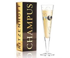 Sandra Brandhofer Champus - Copa de champán de cristal, 200 ml, con noble oro y platino, incluye servilletas de tela