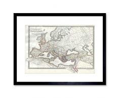 Wee Blue Coo Map 1850 F12X007 - Cuadro artístico con Marco Antiguo Imperio Romano