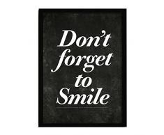 LO+DEMODA HCN2132-87 - Cuadro con marco, diseño Dont forget to smile, 33 x 43 cm, multicolor