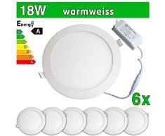 6 x funda utlrafina LEDVero Panel LED SMD 2835 18 W rejilla de ventilación redonda de luz blanca cálida de luz ultrafino para techo
