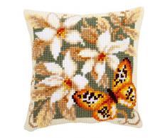 Vervaco Kit para cojín de punto de cruz, diseño de mariposas y flores, multicolor