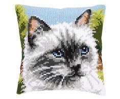 Vervaco - Cojín de punto de cruz, diseño de gato siamés, multicolor