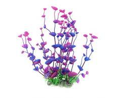 Sourcingmap Plástico Acuario Planta Artificial Planta Decoración, 31 cm, azul/morado