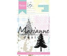 Marianne Design MM1625 Sellos Transparentes, Árbol de Navidad, para Manualidades de Estampado y Sellado, plastico, 8,3 x 2,7 cm