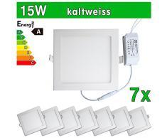 7 x LEDVero funda utlrafina Panel LED 2835 SMD 15 W cuadrado luz blanca fría luz ultrafino para techo