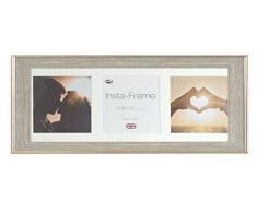 Inov8 21 x 20,32 cm Insta-Frame Austen envejecido marco para Instagram 3/de estampado a cuadros de fotos con paspartú blanco y blanco con borde, 2 unidades, plateado
