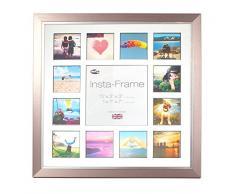 Inov8 16 x 40,64 cm Insta-Frame Marco para Instagram 13/de estampado a cuadros de fotos con paspartú blanco y negro con borde, peltre con borde plateado