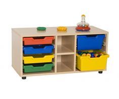Mobeduc 600112HP18 - Mueble infantil superbajo/estantería y cubetero, madera, color haya, 90 x 40 x 44 cm
