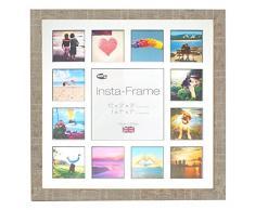 Inov8 16 x 40,64 cm Insta-Frame Marco de fotos de madera para Instagram 13/de estampado a cuadros de fotos con paspartú blanco y negro con borde, 2 unidades, piedra