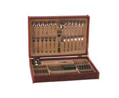 Monix Zurich - Set 75 piezas cubiertos de acero inox 18/10 con estuche Nogal (12 comensales)
